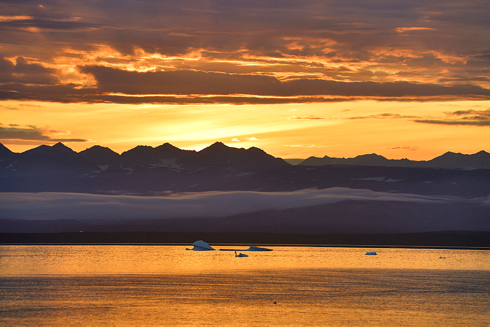 Sunset in Scoresbysund, North East Greenland