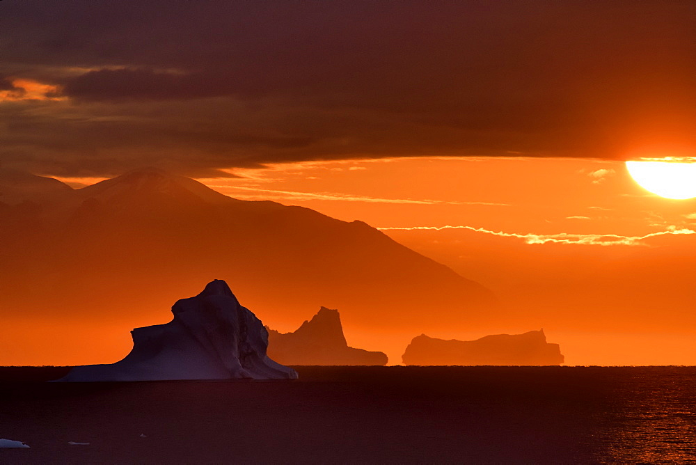 Sunset on icebergs in the Scoresbysund, North East Greenland