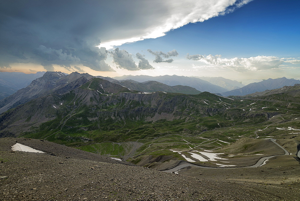 Cime de la Bonette, Col de Restefond, summits of Ubaye under a stormy sky, Alps, France