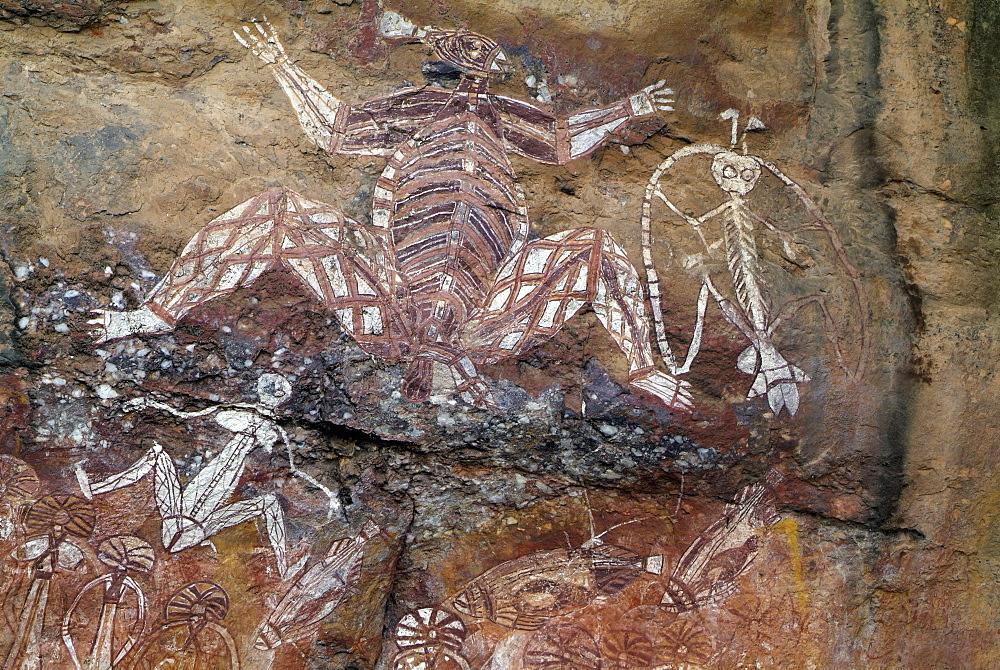 aborigine wall paintings on Nourlangie Rock in Northern Territory Kakadu Nationalpark Nourlangie Rock Nothern Territory Australien