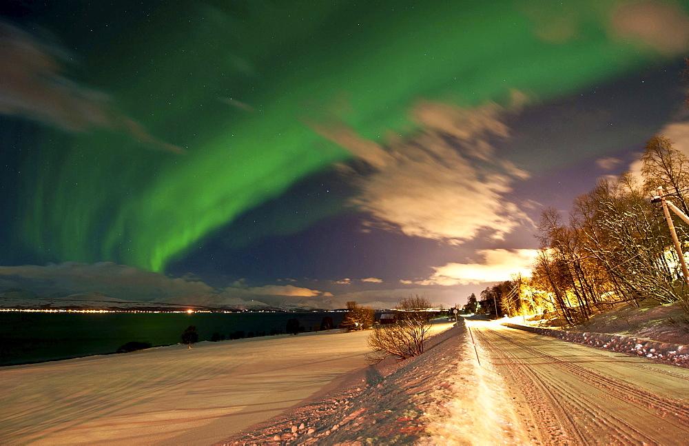 northern lights Aurora Borealis at coast Troms county Nature Scenery