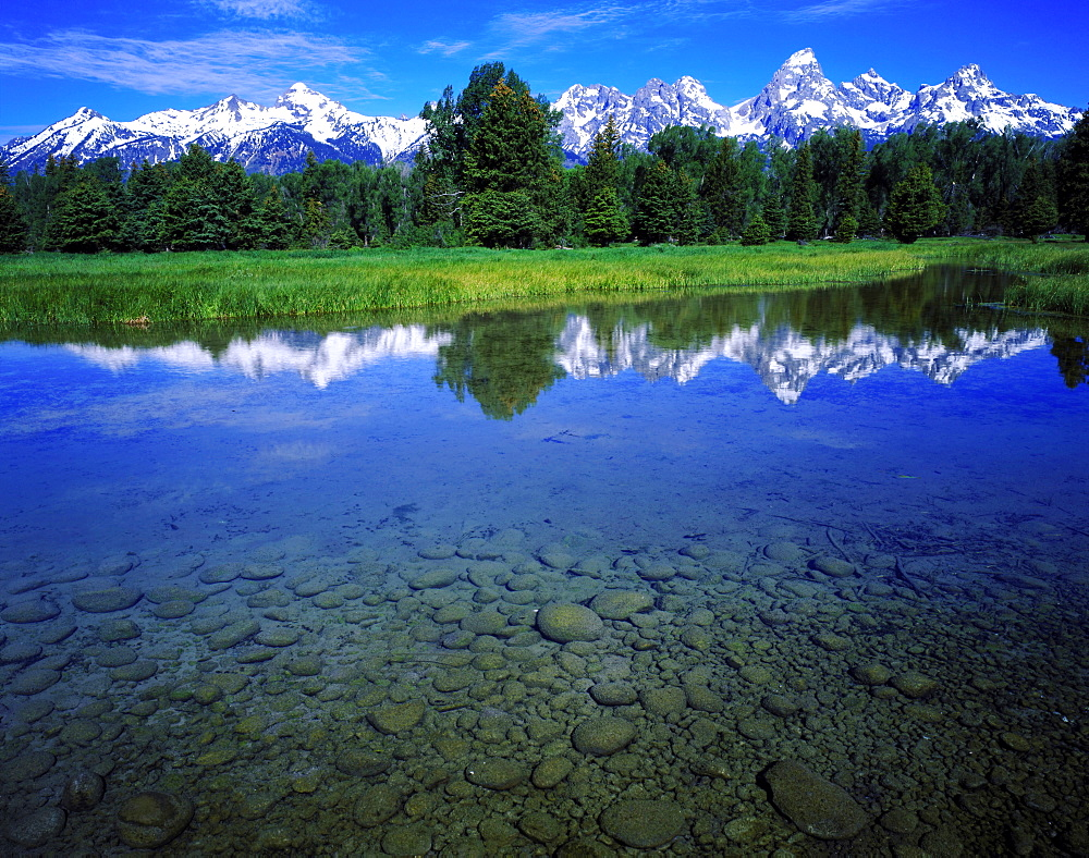 reflection of mountains in blacktail ponds below the Teton Range USA - 869-5216