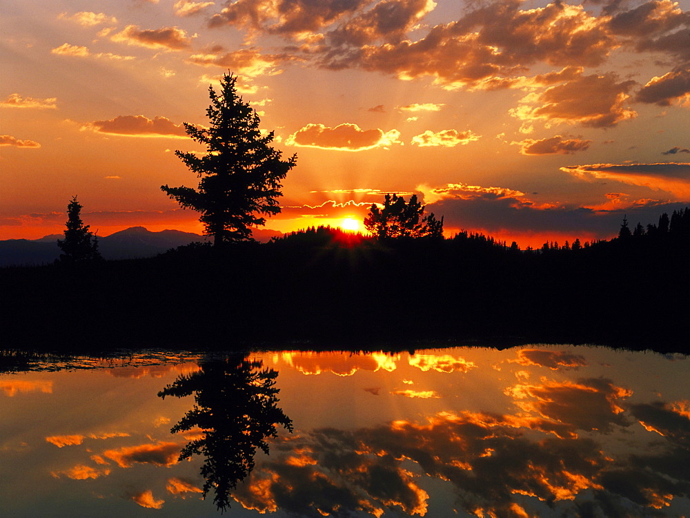 sunset over an alpine tarn USA   - 869-5223
