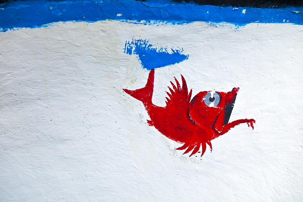 wall painting mural depicting red fish on white blue background outdoors gurnard scorpion fish Puerto Espv?ndola Isla La Palma Santa Cruz Province Canary Islands Spain CANARY ISLANDS ESPANDOLA VILLAGE The Palm Iceland  - 869-5408