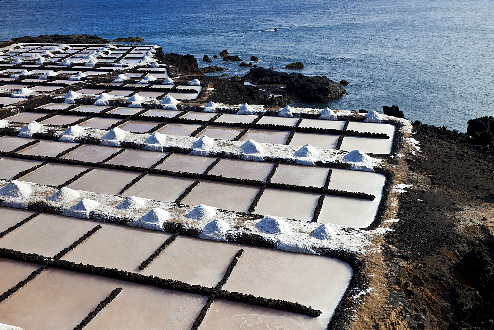 salt-works Salinas de Punta Larga on coast by sea outdoors Pueblo Fuencaliente Isla La Palma Pronvincia Santa Cruz Canary Islands Spain Europe - 869-5416