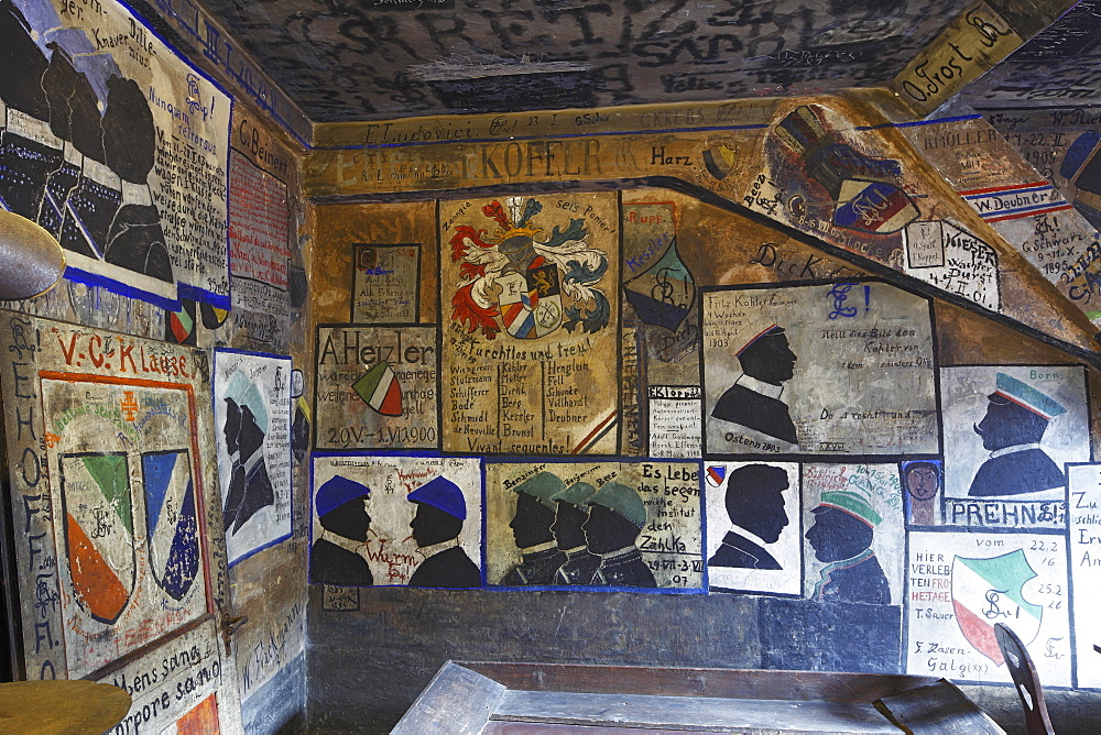 old historical holding cell with graffiti painting in the student Karzer of the university of Heidelberg - 869-5461