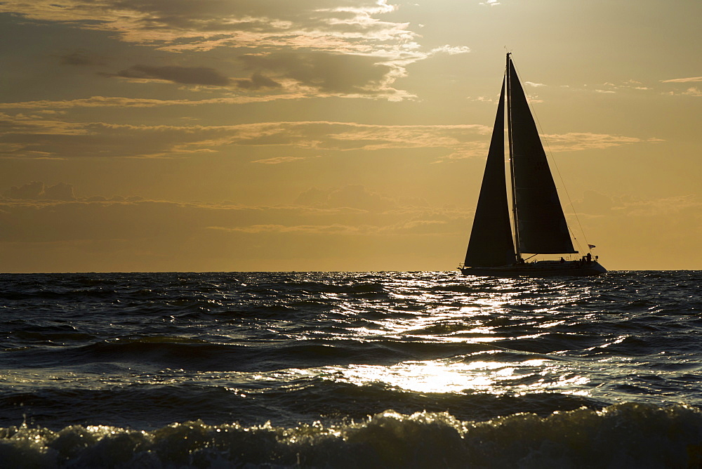sailing boat at sunset sea mood Hiddensee Mecklenburg-Western Pomerania Germany Europe - 869-5676