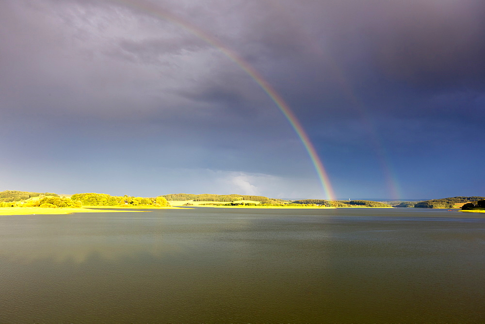 rainbow over water landscape Saxony Germany Europe - 869-5686