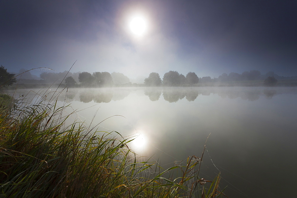 landscape lake at sunrise sun rays in the morning mist dark Saxony - 869-5690
