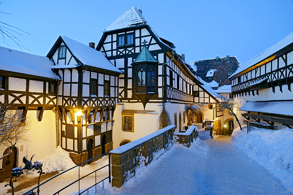 Wartburg Castle in winter panorama   - 869-5755