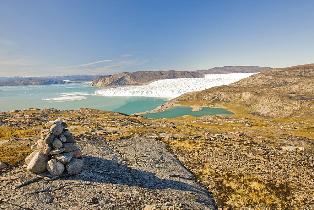 The Eqip Sermia glacier that is receding rapidly due to global warming on the west coast of Greenland, Polar Regions
