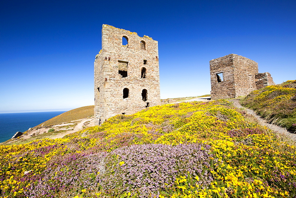 An old abandoned tin mine on moorland above St Agnes, Cornwall, UK.