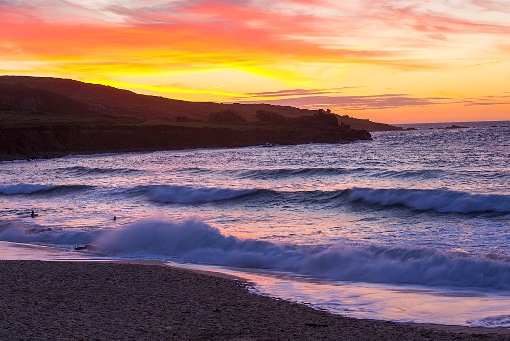 Sunset from Porthmeor beach in St Ives, Cornwall, UK.