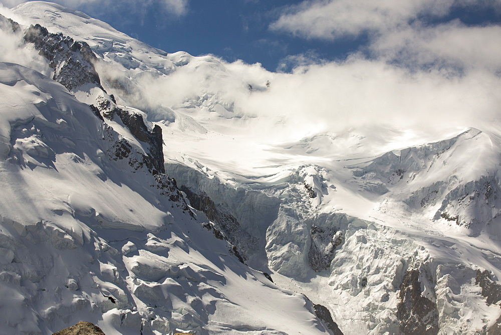 Mont Blanc and the Bossons glacier from Chamonix town, France.