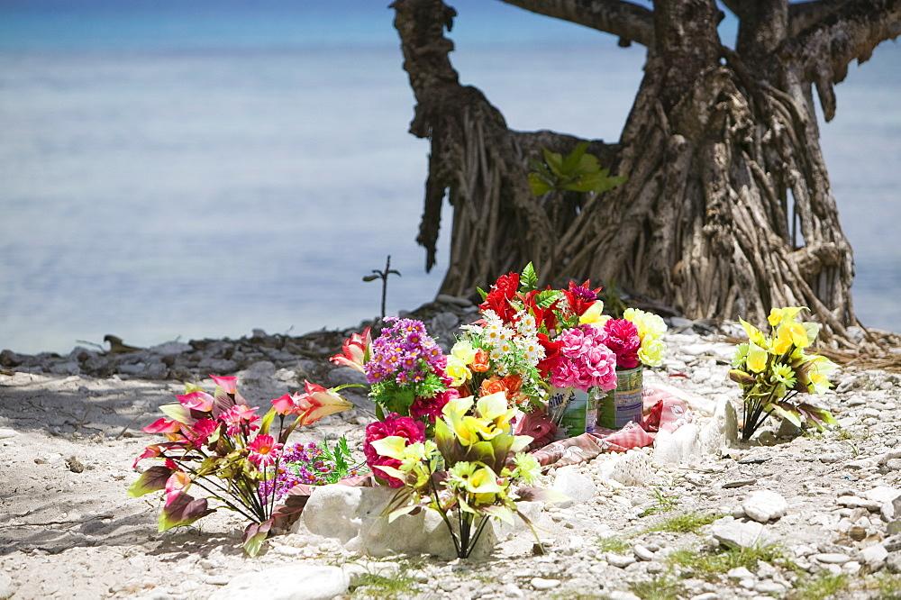 A grave next to the sea on Funafuti Atoll, Tuvalu, Pacific