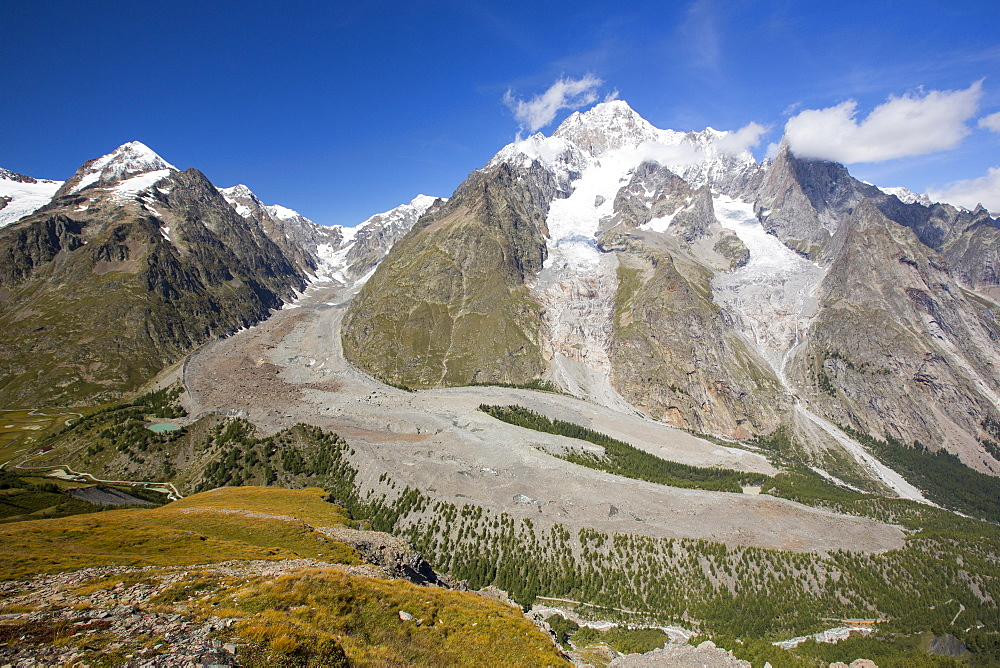 Lateral Moraine on the side of the rapidly retreating Glacier de Miage below Mont Blanc, Italy.
