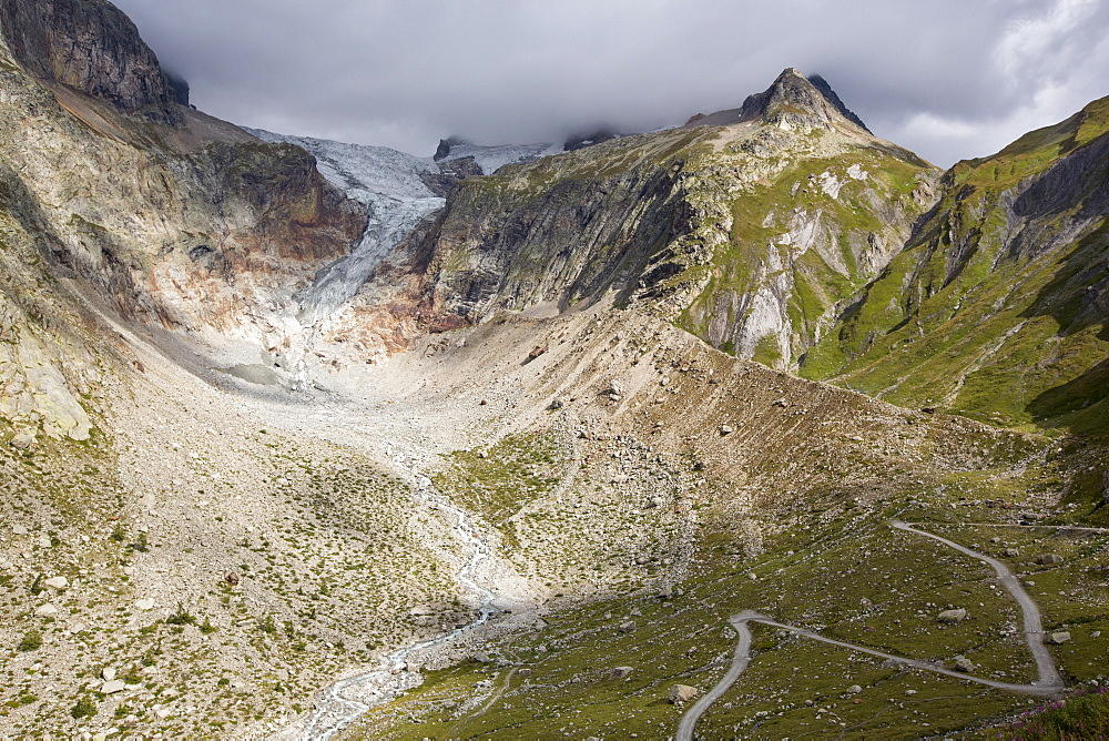The rapidly receding Glacier de pre de Bar in the Mont Blanc range, Italy.