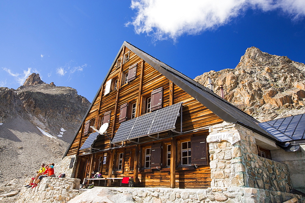 Solar panels on the Cabanne D' Orny in the Swiss Alps, providing electricty for this off grid mountain hut at over 10,000 feet.