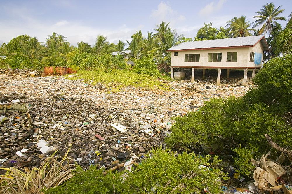 Plastic rubbish discarded in a lagoon on Funafuti Atoll, Tuvalu, Pacific