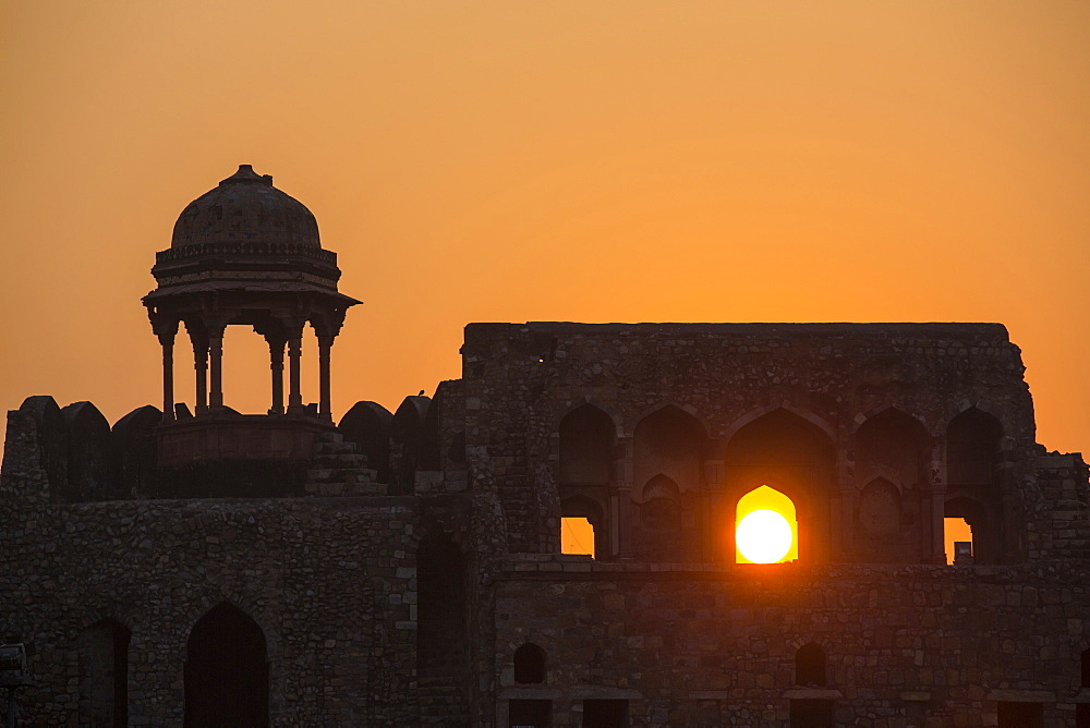 The Purana Qila fort in Delhi; India at sunset.