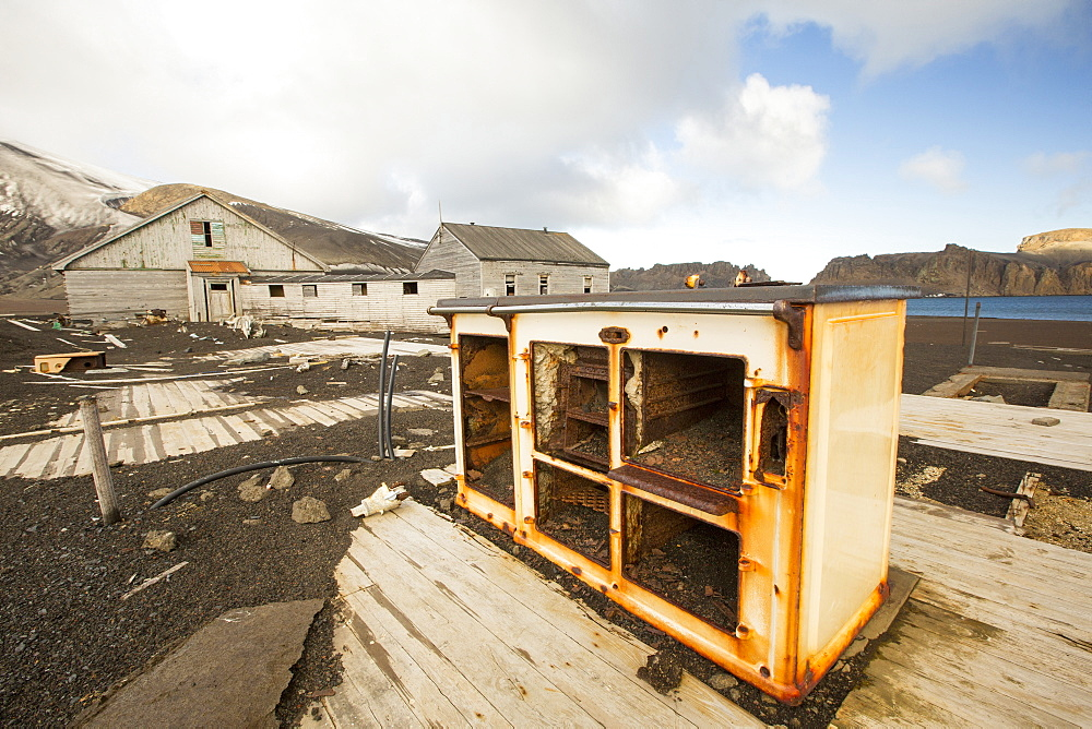 A stove at the old British Antarctic Survey station on Deception Island in the South Shetland Islands off the Antarctic Peninsular which is an active volcanic caldera. It was abandoned in 1967 when it was over run by a volcanic eruption.
