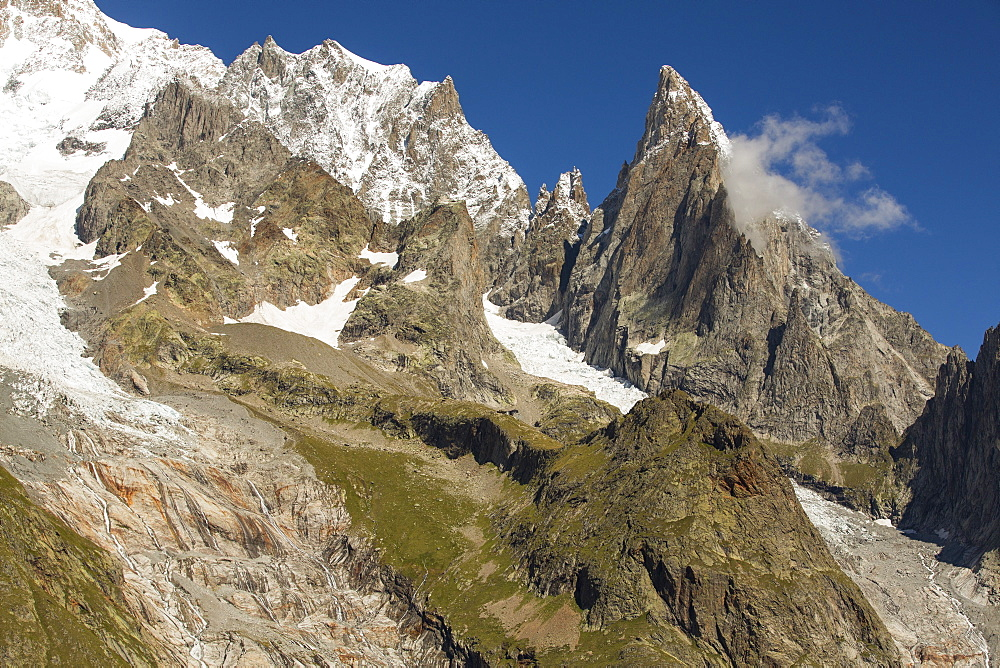 Looking towards the Les Pyramides Calcaires below Mont Blanc and Mont Blanc du Courmayeur.
