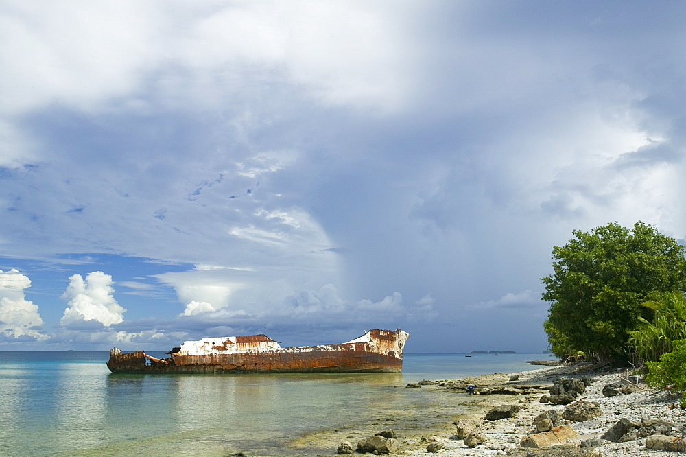 A ship wrecked by Hurricane Bepe on Funafuti Atoll, Tuvalu, Pacific