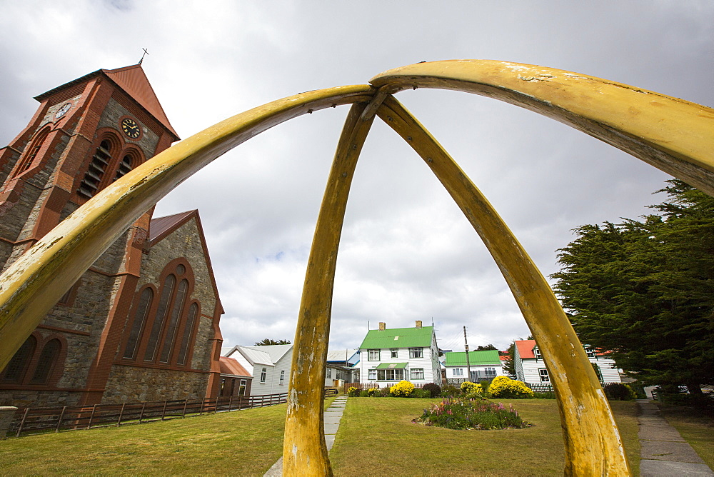 The Christian, Christ Church Cathedral in Port Stanley, the capital of the Falkland Islands, the most southerly cathedral in the world, with a whale bone arch from Blue whale lower jaw bones.