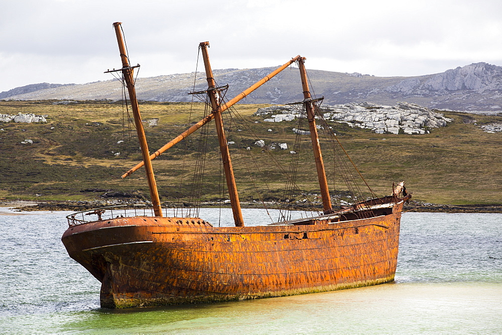 The shipwreck of the Lady Elizabeth on the outskirts of Port Stanley, the capital of the Falkland Islands.