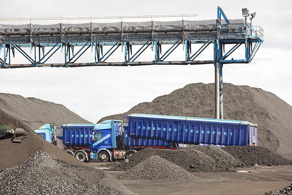 Coal on the docks in Hull, on the Humber Estuary, Yorkshire, UK.
