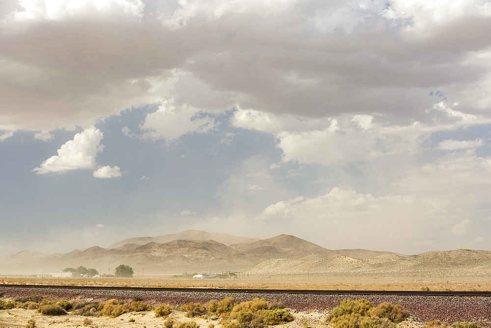 A dust storm in the Mojave Desert in California, USA.