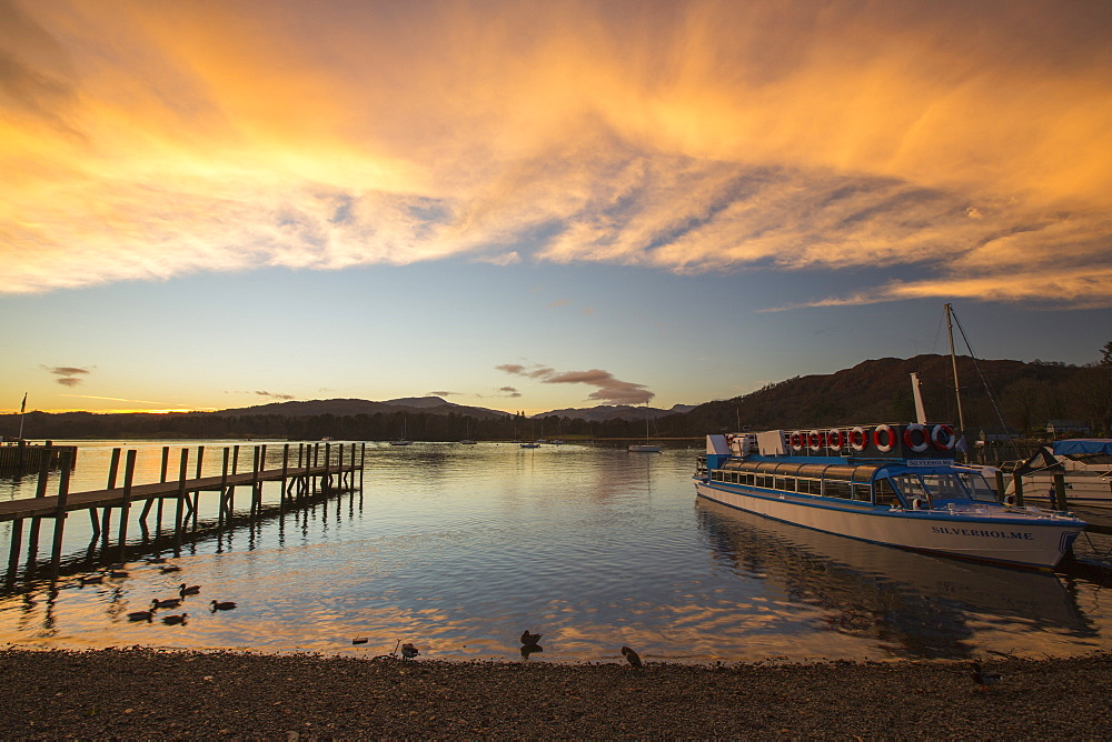 Lake Windermere at sunset, Ambleside, Lake District, UK.