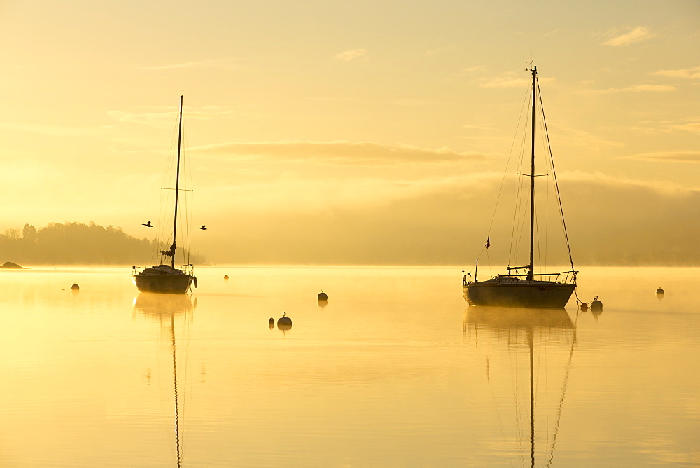 Sunrise over sailing boats on Lake Windermere in Ambleside, Lake District, UK.