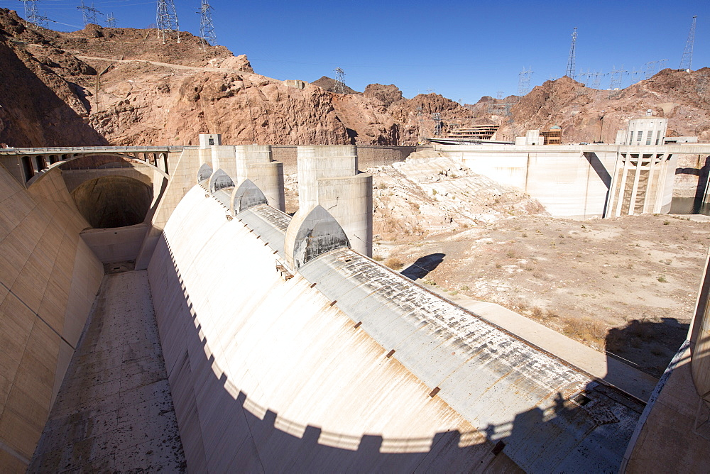 The overspill, standing high and dry at the Hoover Dam on Lake Mead, Nevada, USA, following a four year long drought.
