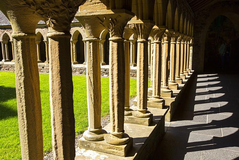 Sandstone pillars in Iona Abbey on Iona, off Mull, Scotland, UK.