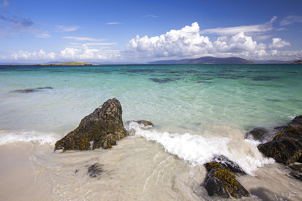 White sand beaches and clean seas on the north coast of Iona, off Mull, Scotland, UK.