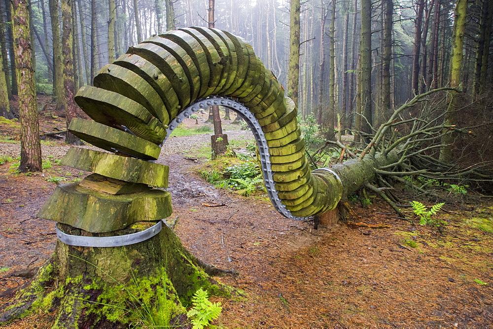 The Pendle Sculpture Trail in Aitken wood, near Clitheroe, Lancashire, UK.
