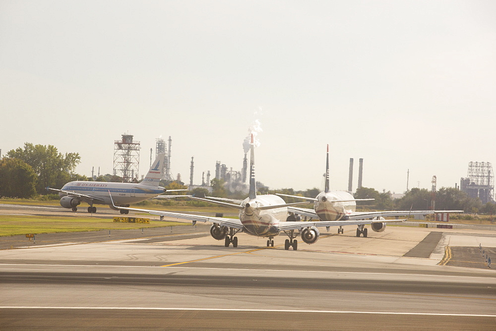 Planes queing up to take off at Philadelphia airport, USA