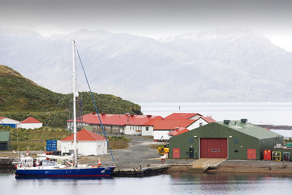 The British Antarctic Survey base at  Grytviken on South Georgia in the Southern Ocean.