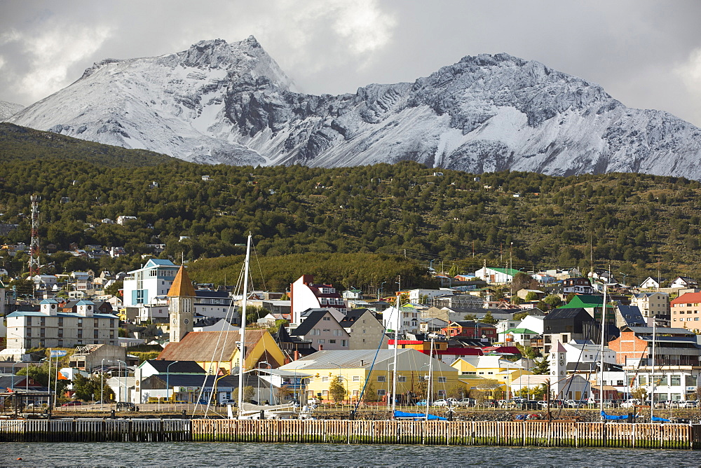 Sailing boats moored in the town of Ushuaia which is the capital of Tierra del Fuego, in Argentina, it is the most southerly city in the world and the starting point for trips to Antarctica.