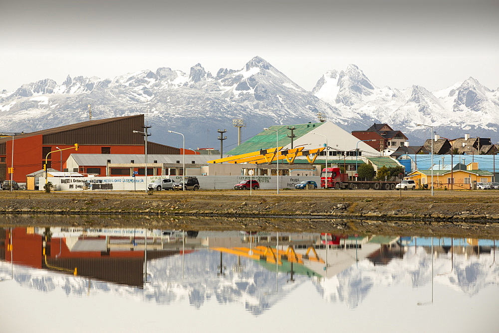 The Martial mountain range from the town of Ushuaia which is the capital of Tierra del Fuego, in Argentina, it is the most southerly city in the world and the starting point for trips to Antarctica.