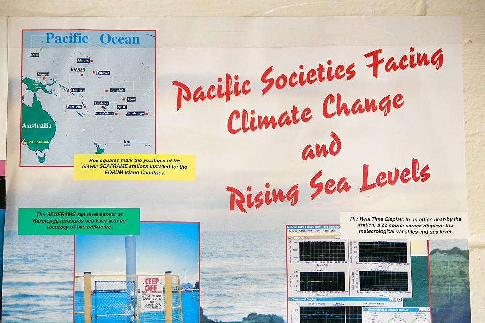 Poster about sea level rise on Funafuti, Tuvalu, Pacific