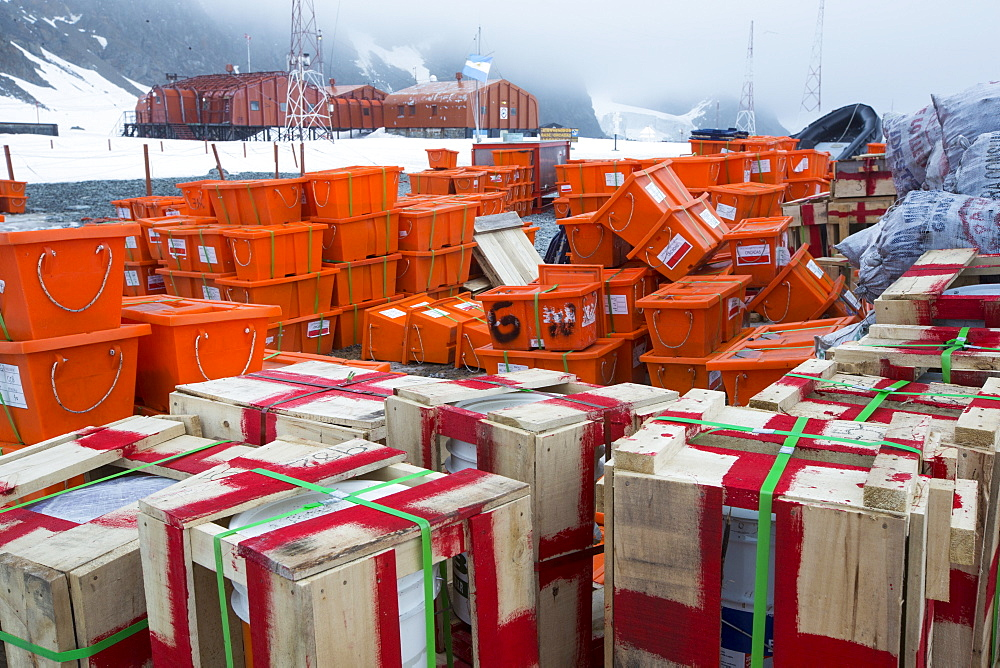 Supplies at Base Orcadas which is an Argentine scientific station in Antarctica, and the oldest of the stations in Antarctica still in operation. It is located on Laurie Island, one of the South Orkney Islands, just off the Antarctic Peninsular. The Antarctic Peninsular is one of the fastest warming places on the planet.
