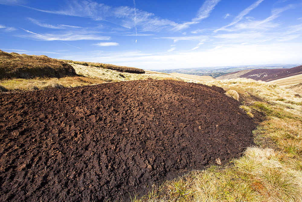 Peat Hags on king bank head above Biggar in the Southern Uplands of Scotland, UK. These peat covered moorland hills are an important carbon sink.
