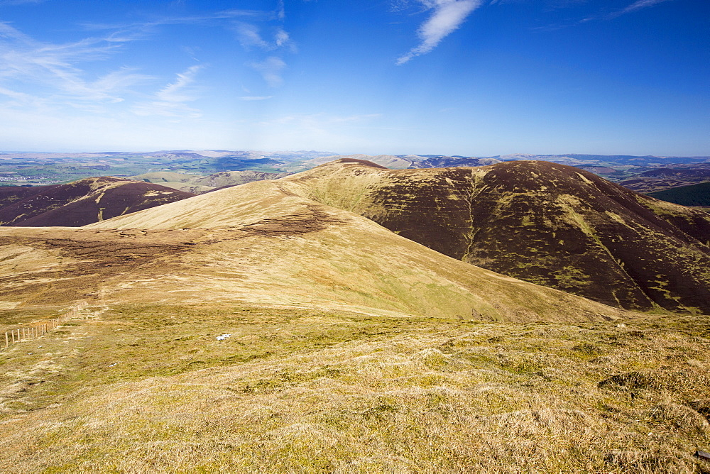 Looking towards King bank head from Culter Fell above Biggar in the Southern Uplands of Scotland, UK. These peat covered moorland hills are an important carbon sink.