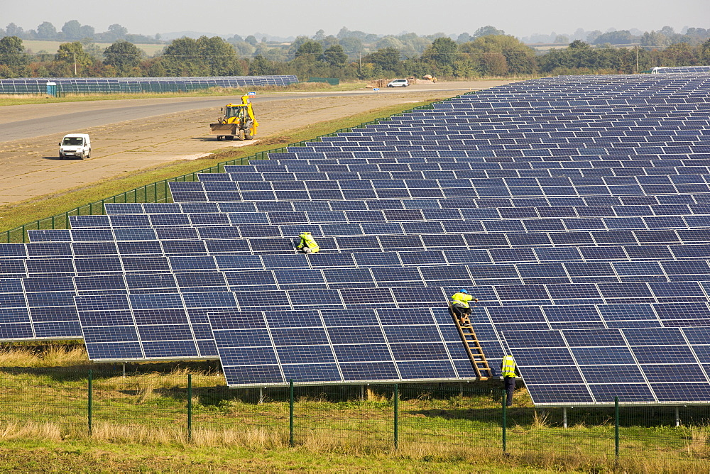 Wymeswold Solar Farm the largest solar farm in the UK at 34 MWp, based on an old disused second world war airfield, Leicestershire, UK. It contains 130,000 panels and covers 150 acres.