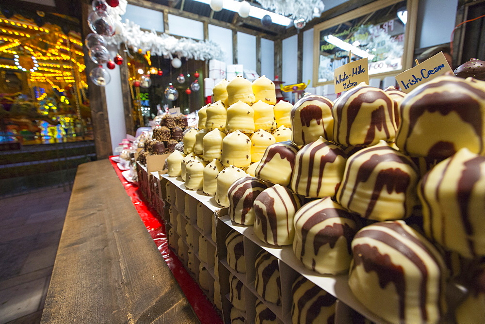 A Christmas market stall in the Trafford Centre, Manchester, UK.