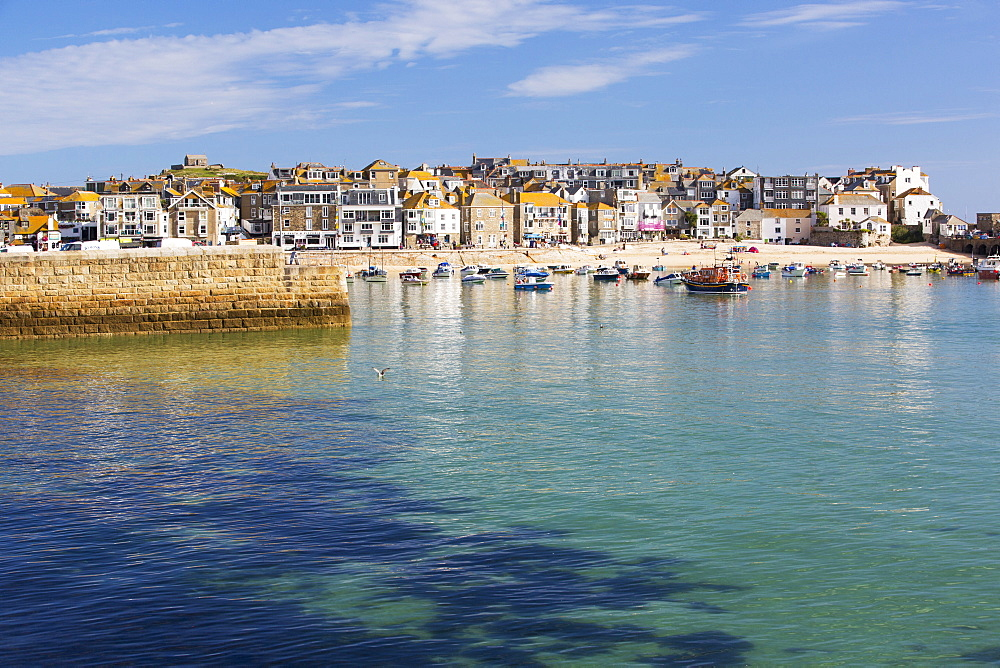 St Ives harbour at high tide, Cornwall, UK.