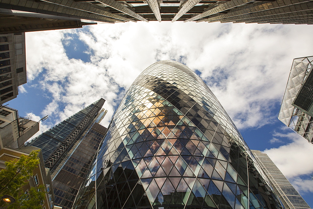 The Swiss Re Tower and Leadenhall Building in the City of London.