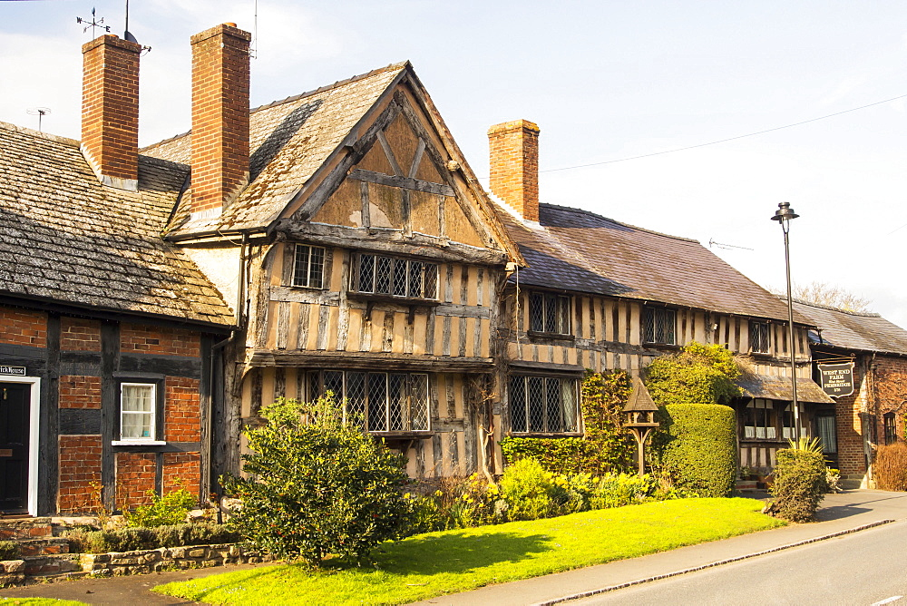 Ancient, medieval Tudor timber framed houses in Pembridge, Herefordshire, UK.